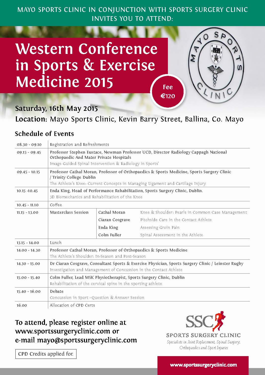 programme schedule for western conference in sports and exercise medicine